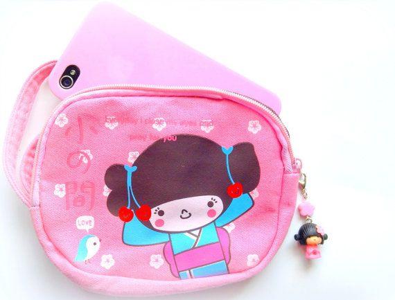 Kawaii bag Geisha pink coin purse with cute zipper by CreaBia