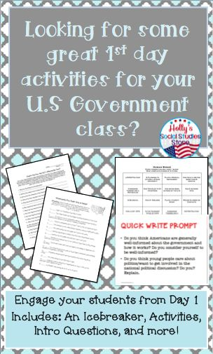 Engage your U.S. Government students from Day 1 with these engaging intro day activities! Includes an icebreaker, fun activities, intro questions, and more! Find more at Holly's Social Studies Store!