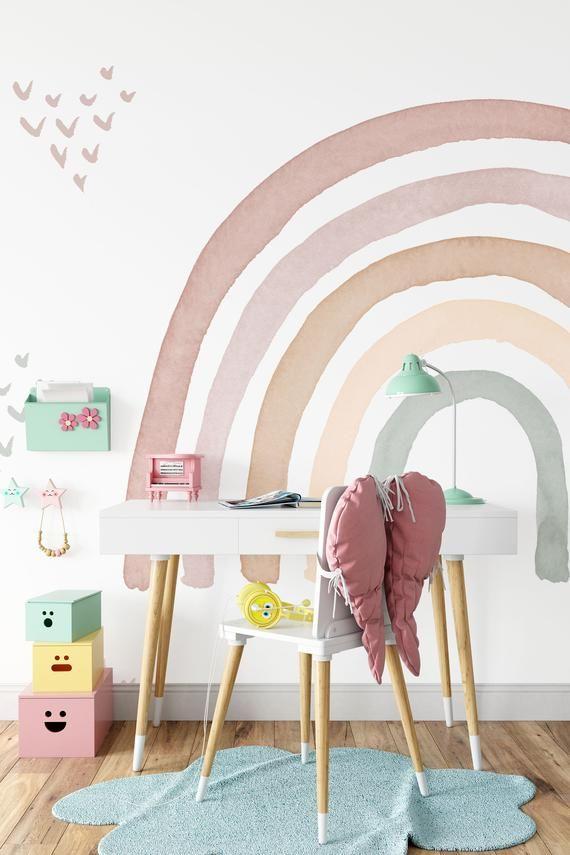 Watercolor Rainbow In Earthy Tones Wall Mural Colorful Etsy Kid Room Decor Girl Room Wallpaper Walls Decor