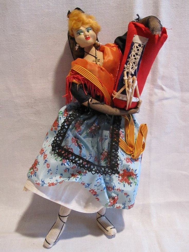 Dolls From Europe   ... LAYNA Spain cloth doll Lacemaker from Europe carrying lace & needles