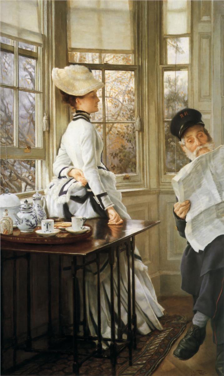 a tea service in the train station, artist James Tissot