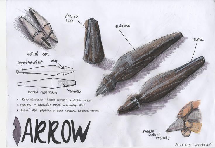 Sada propisky a pera Arrow (prezentační skica)