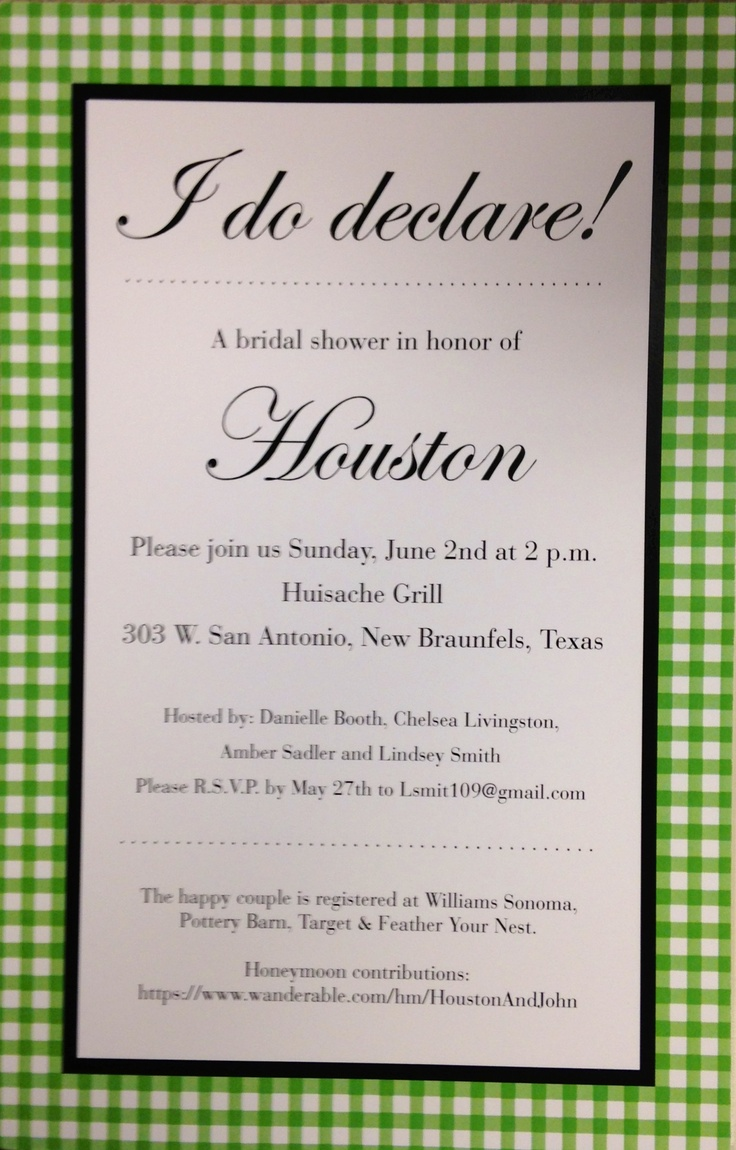 Houston's Southern Bridal Shower invites