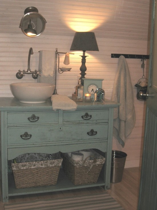 I Like The Raised Sink And The Shelf Space Underneath Also Love The Lamp Bathroom Ideas