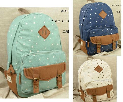"""New Women canvas backpack bag      Size: 11"""" width x15.2"""" height x5.9"""" depth  inch / 28x39x15cm    Color: Dark Blue/Light Green/White  US Delivery time 7-13 Days  Others European/Canada: 12-16 Days"""