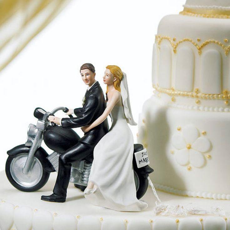 Tortenfigur zur Hochzeit Porzellan Motorrad Brautpaar