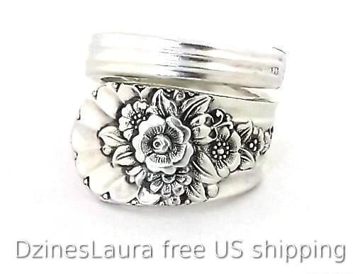 Silver Spoon Ring Jubilee 1953 Vintage Jewelry Silverware Handle Anniversary Birthday Gift Rose Daisy Sunflower Snowdrop Flower Floral by DzinesLaura on Etsy https://www.etsy.com/listing/166583586/silver-spoon-ring-jubilee-1953-vintage