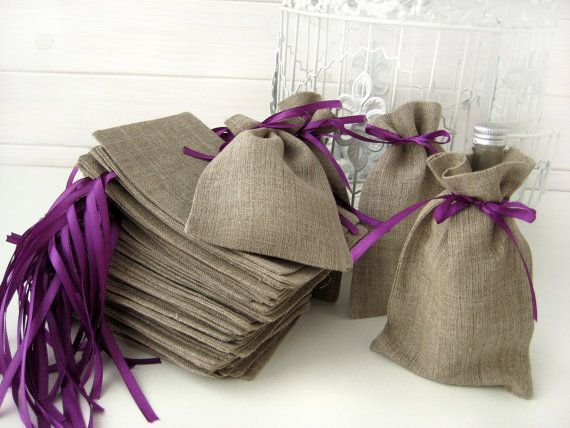 SET OF 50 Natural Rustic Linen Eco Wedding Favors by BrightBride, $98.00