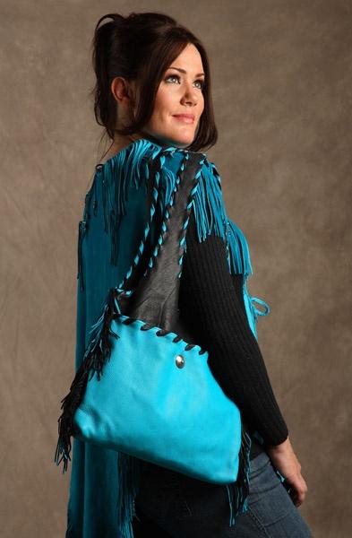 Turquoise Deerskin Handbag from JKBrand.com $350