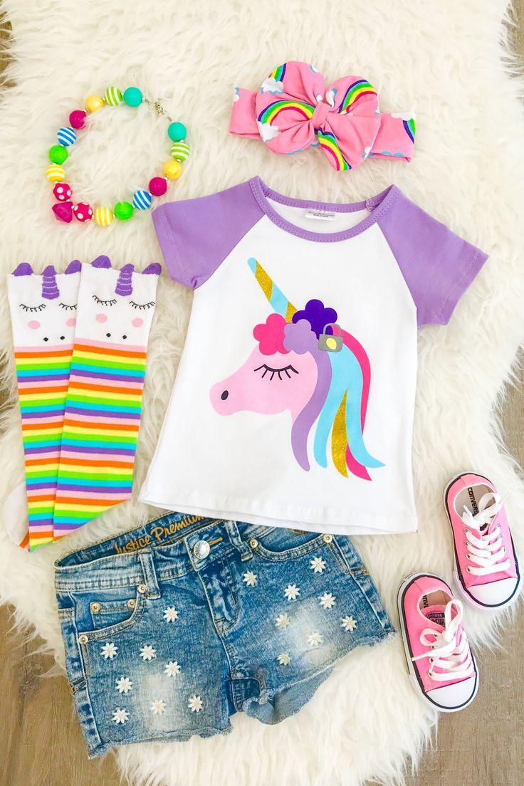 Lavendar unicorn t shirt kids fashion pinterest moda for Recamaras de unicornio para ninas