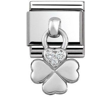 Nomination Silver Hanging Four Leaf Clover Charm | Argento.co.uk