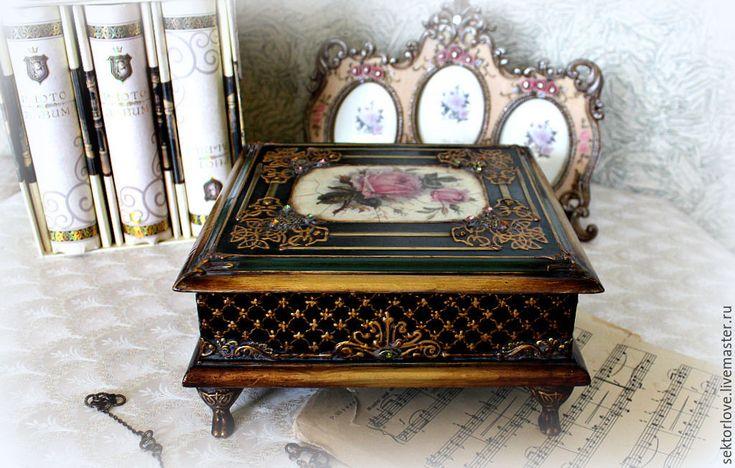 Купить шкатулка Роза - черный, шкатулка для украшений, шкатулка декупаж, шкатулка для мелочей, шкатулка деревянная