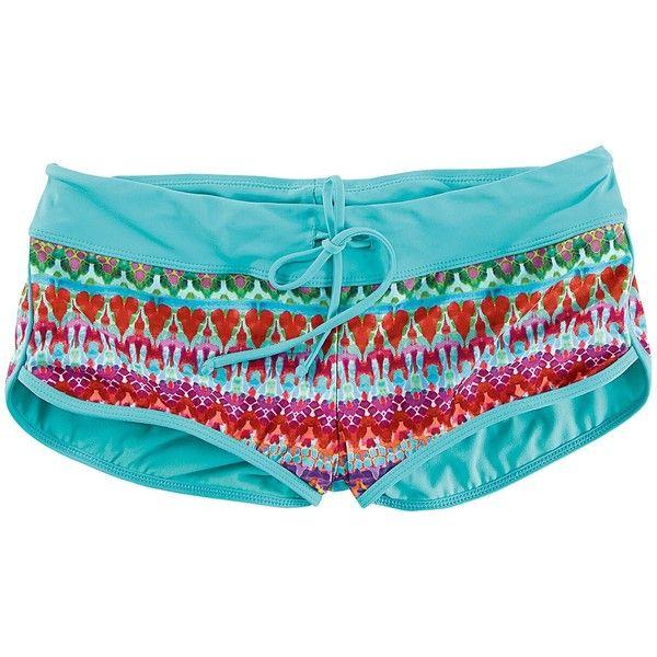 Title Nine  High Tide Boy Shorts Swim Bottom - Multi Print ($49) ❤ liked on Polyvore featuring swimwear, bikinis, bikini bottoms, print, title nine swimwear, boy shorts swimwear, boy short bikini bottoms, colorful bikini and bikini bottom swimwear