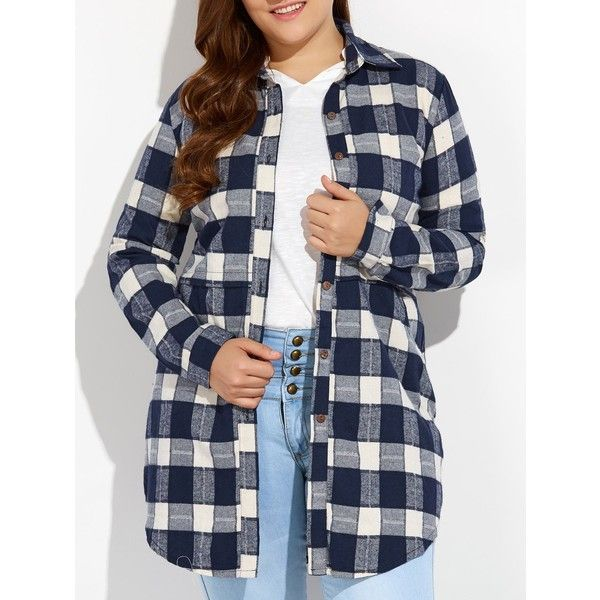 Plus Size Plaid Button Up Long Flannel Shirt ($21) ❤ liked on Polyvore featuring tops, plus size flannel shirts, plus size long tops, plus size plaid shirt, long shirt and flannel shirt