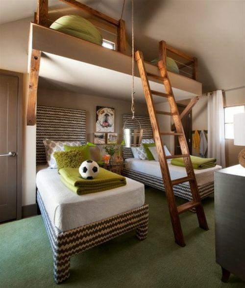kinderzimmergestaltung zick-zack gemusterte Betten und Leiter aus Holz