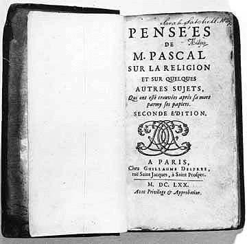 Blaise Pascal: Pensées (1670)