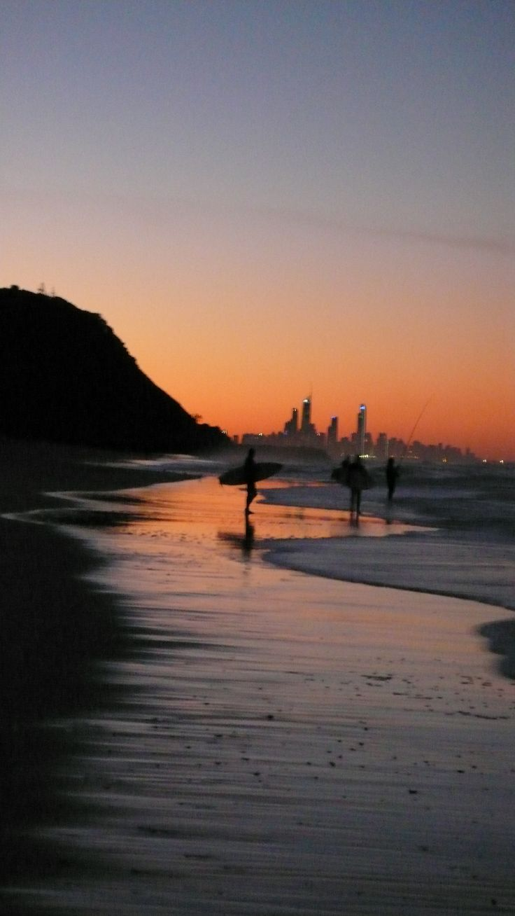 The sunsets are beautiful during the winter months at Palm Beach Gold Coast, Australia