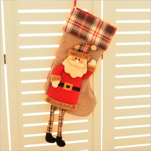 Christmas Decoration Stocking Large long feet Santa Claus snowman Christmas candy socks gift bags accessories children's gifts