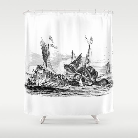 1810 vintage nautical octopus steampunk kraken sea monster drawing print Denys de Montfort retro Shower Curtain