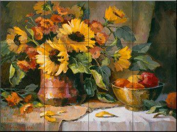 Tile Mural - Sunflowers Copper And Brass - Kitchen Backsplash Ideas traditional-tile-murals