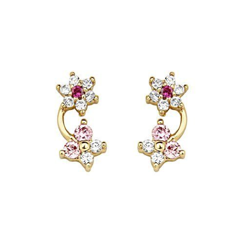 14K Yellow Gold Plated Flower & Butterfly Red Pink CZ Stud Earrings with Screw-back for Children & Women The World Jewelry Center. $12.95. Screw Back. Save 67% Off!