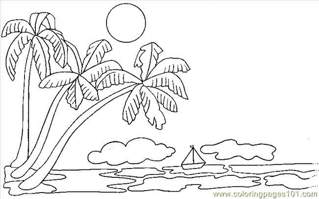 Printable Palm Tree Free Printable Coloring Page