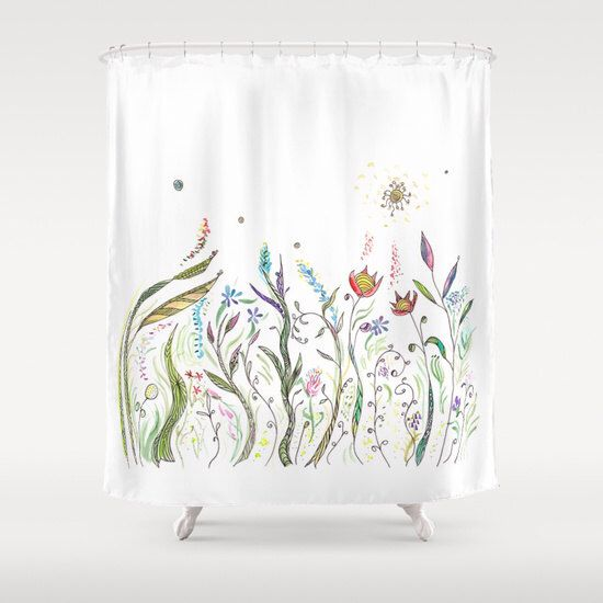 Floral Shower Curtain - La Primavera - Fabric - beautiful bathroom ideas, makeover, spring remodel, curtains, flowers, unique, extra long by ArtfullyFeathered on Etsy https://www.etsy.com/listing/216293202/floral-shower-curtain-la-primavera