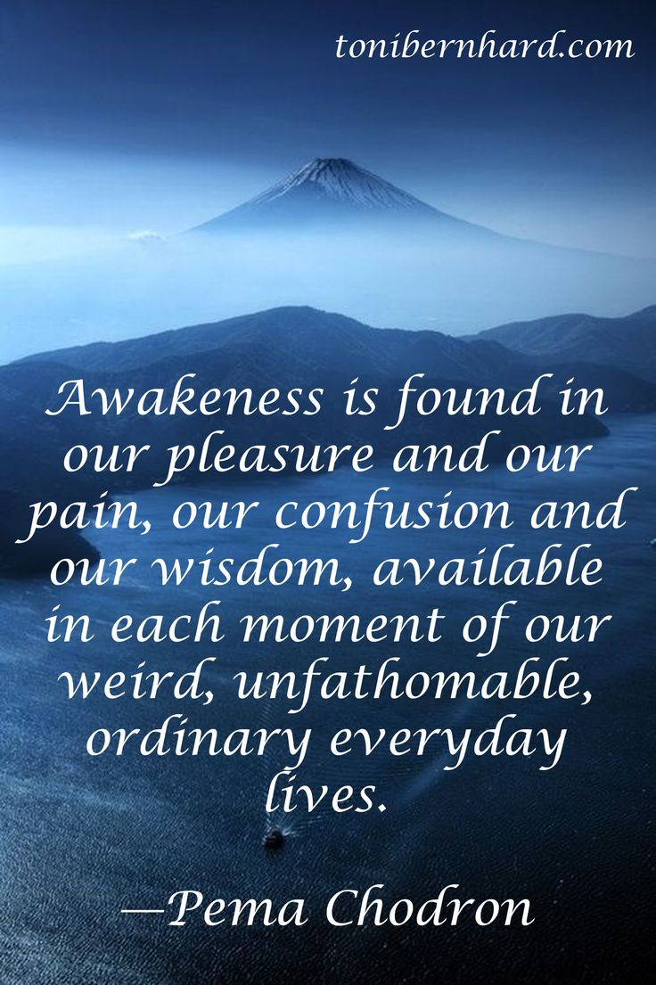 """Awakeness is found in our pleasure and our pain…"" —Pema Chodron"