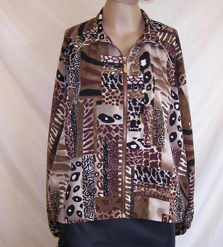 TEDDI Womens size L jacket  animal print zip up long elastic sleeves #Teddi #BasicJacket