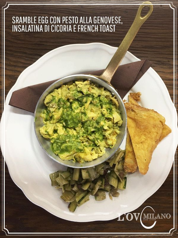 Scrambled eggs con pesto alla genovese, insalataina di cicoria e french toast - @ L'OV Milano