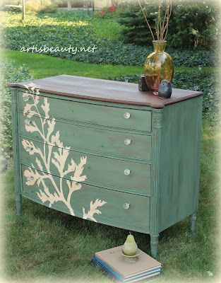 60 DIY Furniture Makeovers love this!    I'd love to do something like this to our existing armoire that will soon be in the office or guest bedroom.  Leaf design is really cool