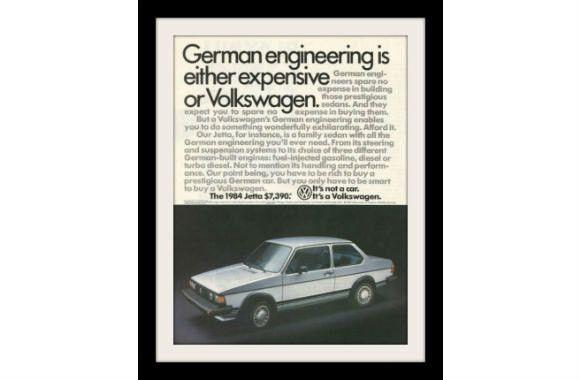 "1984 VW Jetta Car Ad ""German Engineering"" Vintage Advertisement Print"