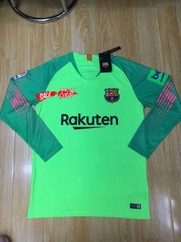 0651a5c864b 2018-19 Cheap Goalie Jersey Barcelona Green LS Replica Soccer Shirt [CFC957]