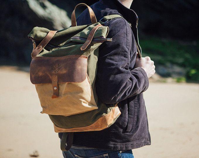 Encerado lona morral Rolltop con marrón cuero / encerado lona mochila / bolso del ordenador portátil / morral Vintage
