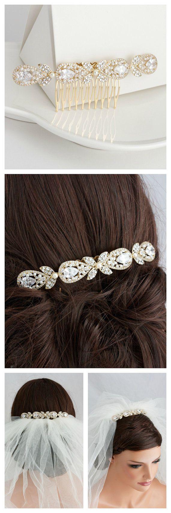 Gold Wedding Hair Accessory Bridal Hair Comb Vintage Hair Piece Crystal Veil Clip Rhinestone Gold Veil comb VIVIENNE