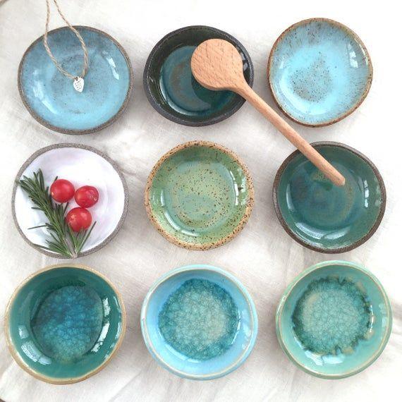 Tapas Bowls Round 3 Pieces Serving Bowl Green Ceramic Handmade