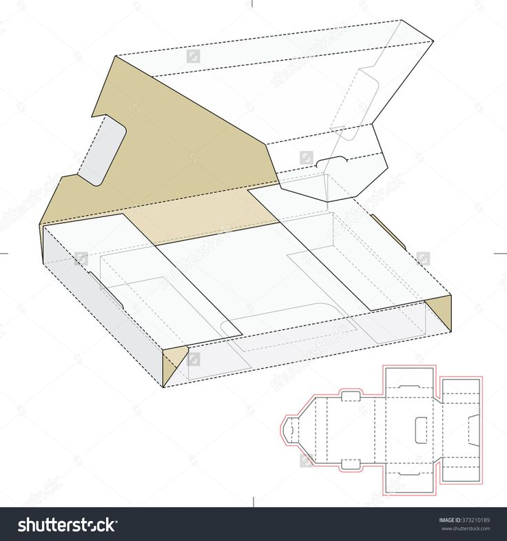 Shipping Box Wrapper With Die Cut Template Stock Vector Illustration 373210189 : Shutterstock