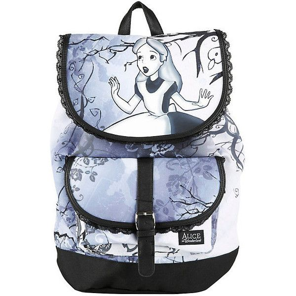 Disney Alice In Wonderland Slouch Backpack Hot Topic ($36) ❤ liked on Polyvore featuring bags, backpacks, padded backpack, drawstring pouch, padded pouch, backpack pouch and pocket pouch