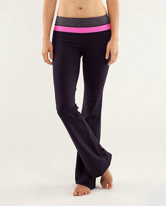 Lululemon Athletica Yoga Groove Pants Black Stripe Pink Shell