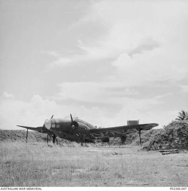 A decoy Lockheed Hudson aircraft at RAF Kota Bharu. The Hudson was non-operational and was used to lure any enemy bombers away from the real runway. Note the supports under the wings used to hold the decoy upright. Malaya, December 1941. (AWM)