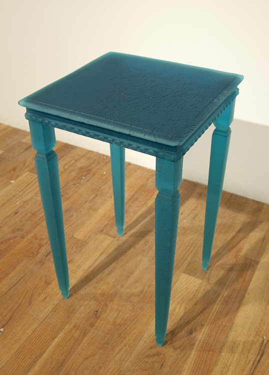 """Aqua Blue - Bruce Brown  cast and cold-worked glass 24""""high"""