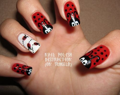 : Animal Nails, Nails Art, Lady Bugs 3, Adorable Ladybugs, Ladybug Nails, Hair Nails Makeup, Nails Hair, Beatles Nails, Ladybugs Nails