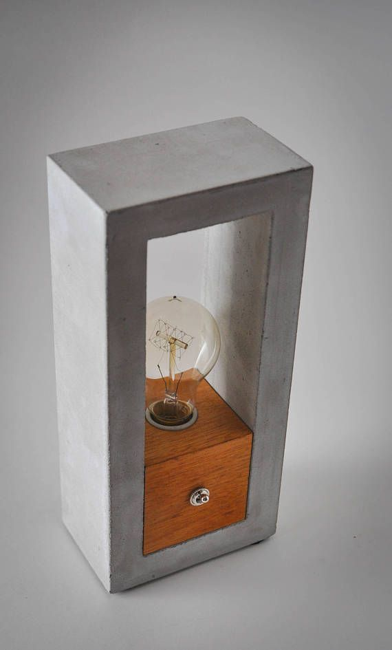 Concrete Wood Table Lamp Free Shipping Canada And Us Fire