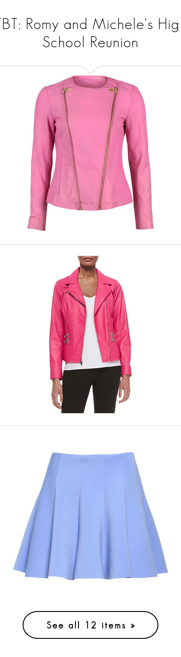 """""""TBT: Romy and Michele's High School Reunion"""" by polyvore-editorial ❤ liked on Polyvore featuring tbt, romyandmichele, Michele, Yves Saint Laurent, Ralph Lauren Collection, outerwear, jackets, pink, lightweight military jacket and collarless leather jacket"""