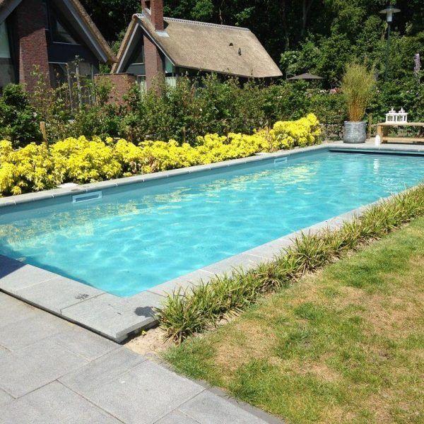 De prachtige gele bloemen bij dit zwembad maken het plaatje compleet! - Zwembadplein #flowers #garden #pool