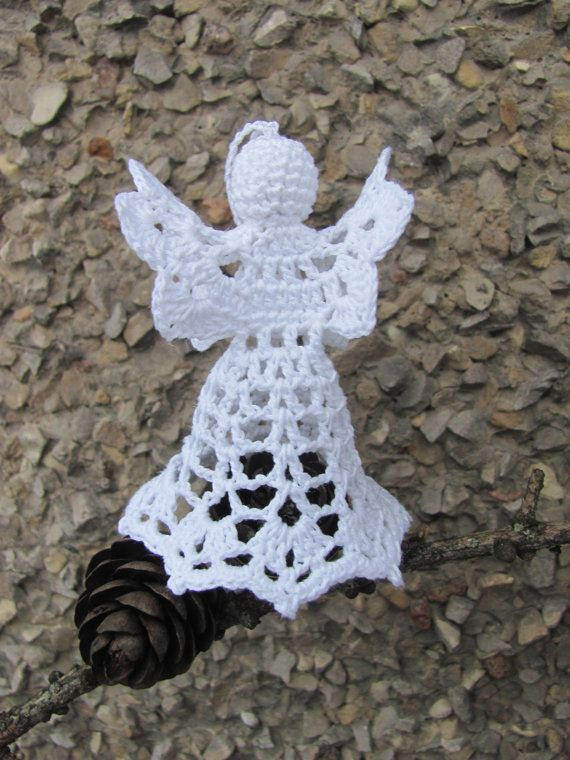 Crochet angel Christmas decoration A21 by InKasTrifles on Etsy