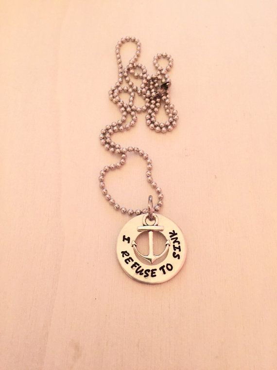I Refuse to Sink Hand Stamped Washer with Anchor by NameItAlready