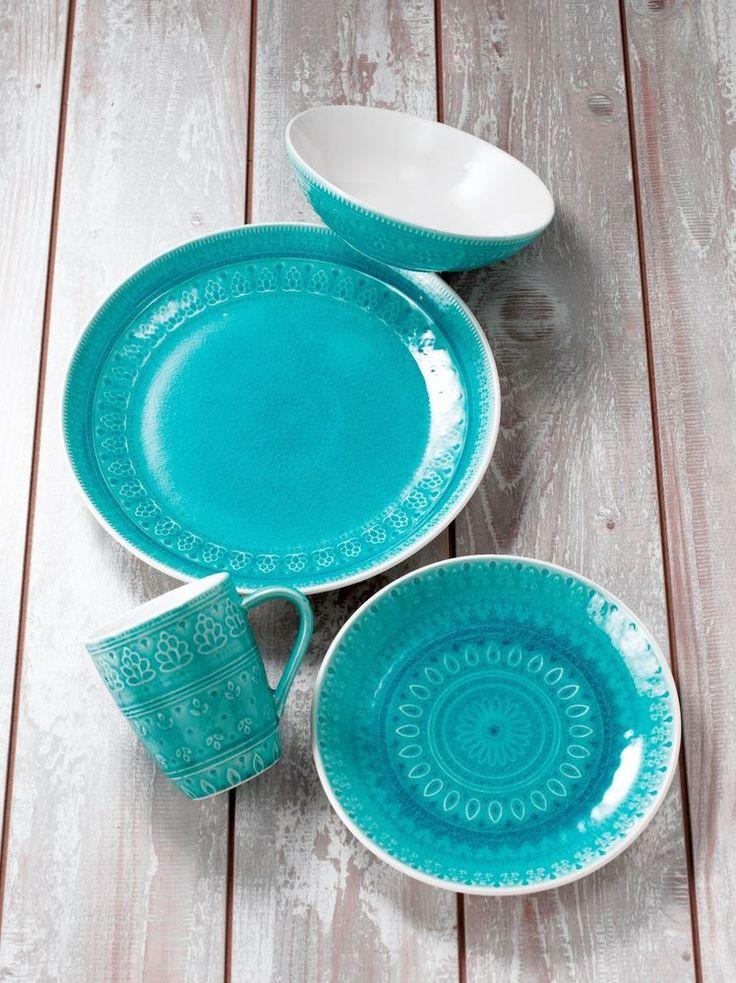 Fez 16 Piece Dinnerware Set in Turquoise by EuroCeramica #EuroCeramica