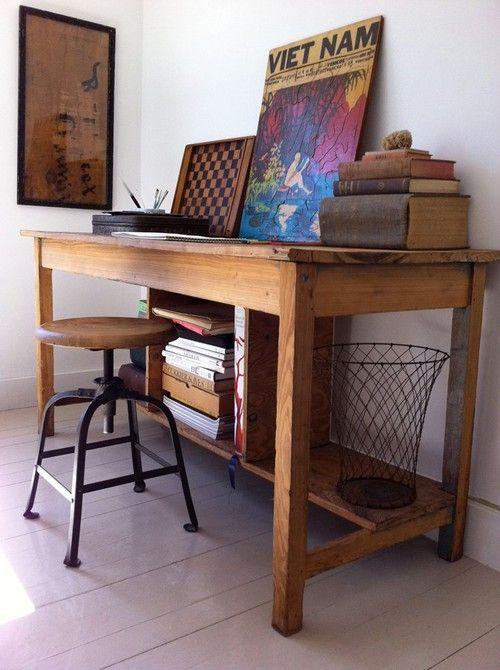oak desk (via Remodelista)...I like the chess board like that.