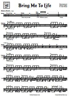 Evanescence - Bring me to life Drum sheet